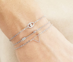 Mini arrow bracelet / Evil eye bracelet / Mini triangle bracelet