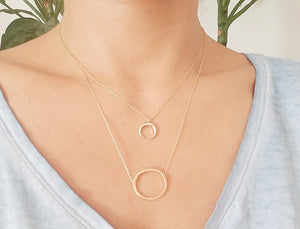 Crescent necklace / Oval shaped necklace