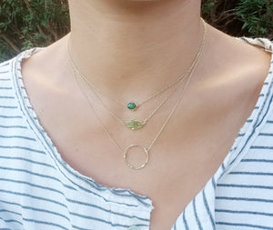 Mini green emerald aventurine necklace/ Hamsa necklace/ Twisted circle necklace