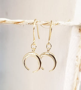Crescent gold earring