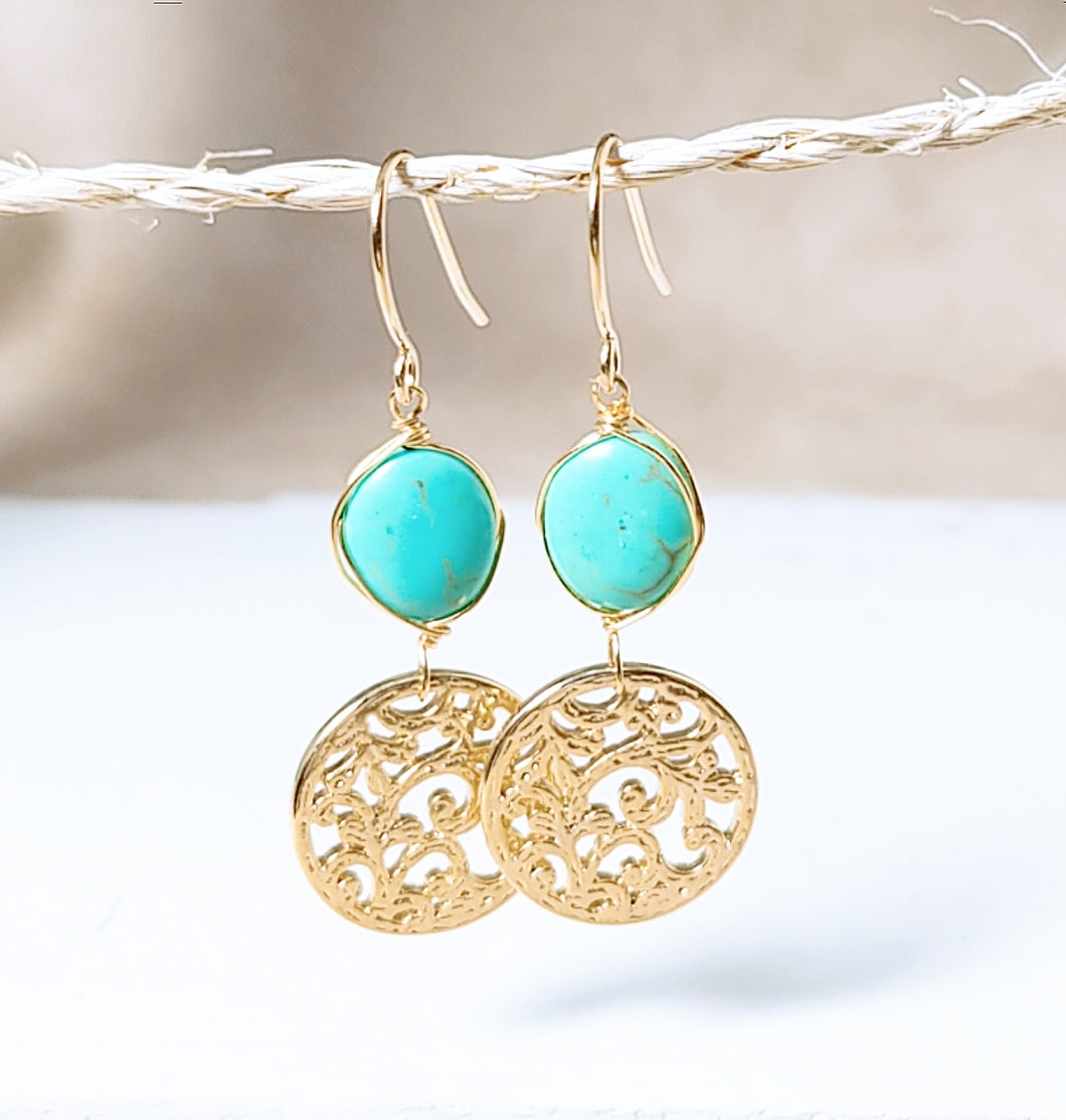 Special Design symbol turquoise earring