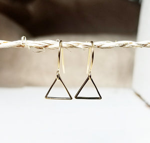 Minimalist gold  triangle earring