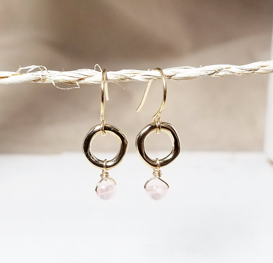 Rose quartz drop donut gold earring