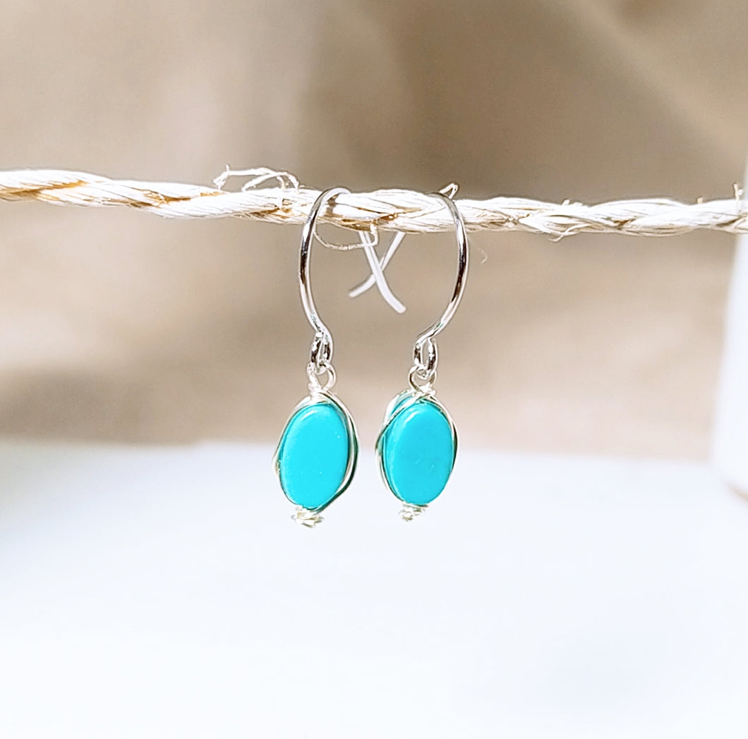Blue Turquoise dangle earring