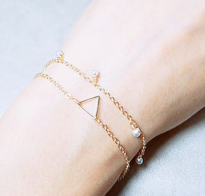 Mini triangle gold bracelets