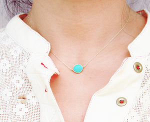 Turquoise single stone necklace