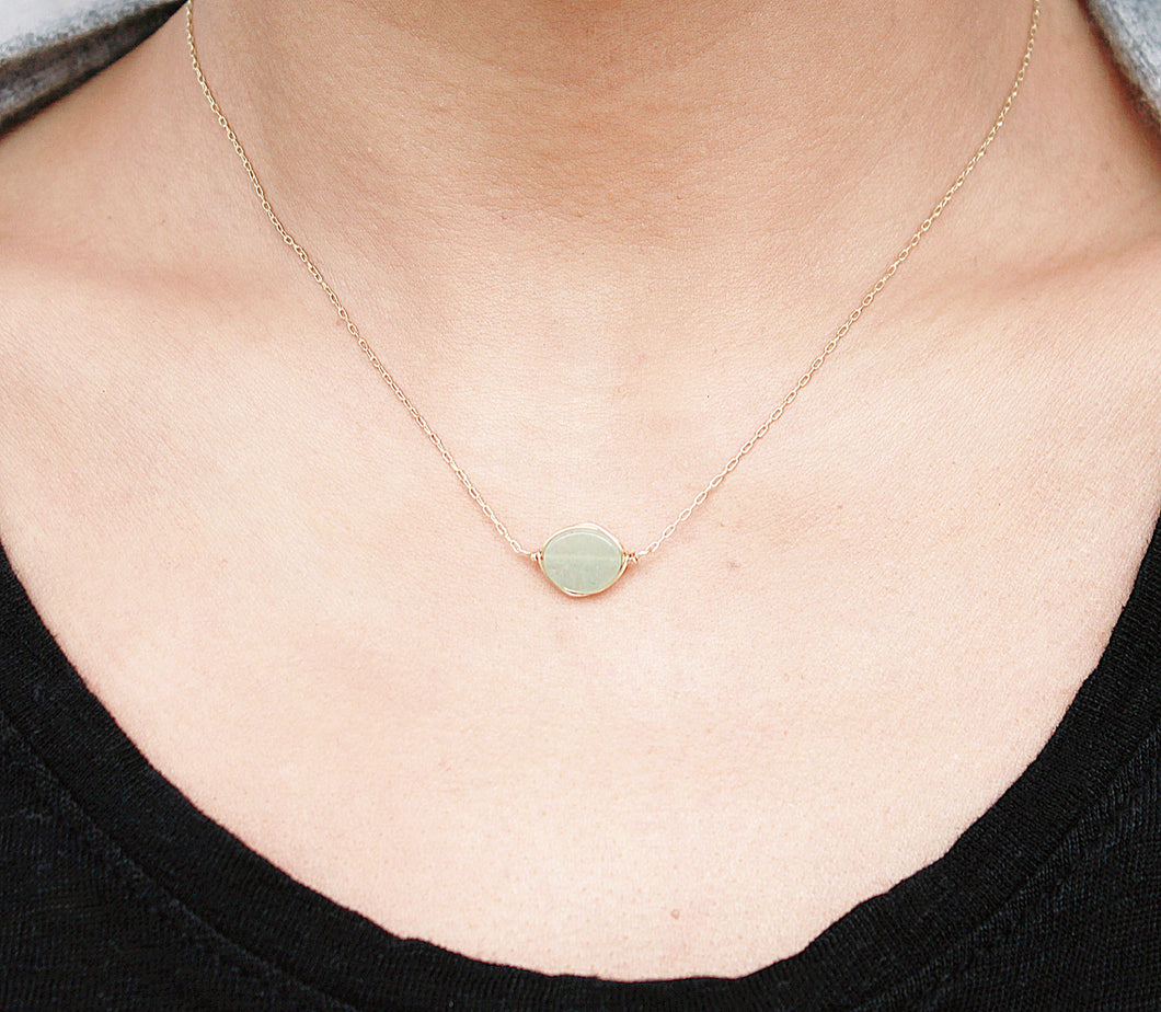 Green aventurine Gem stone necklace