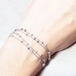 Two tone metal bead delicate bracelet