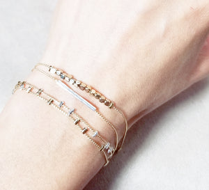 Mini square metal bead gold bracelet