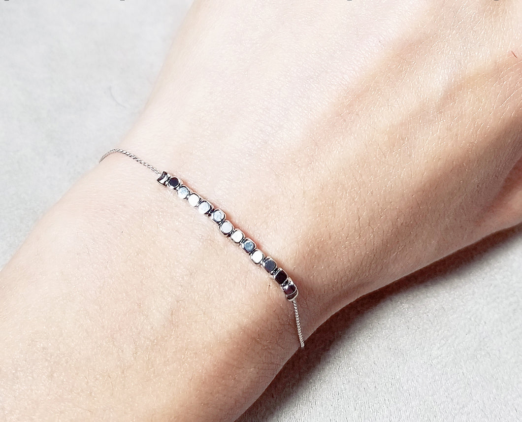Mini square metal bead bracelet