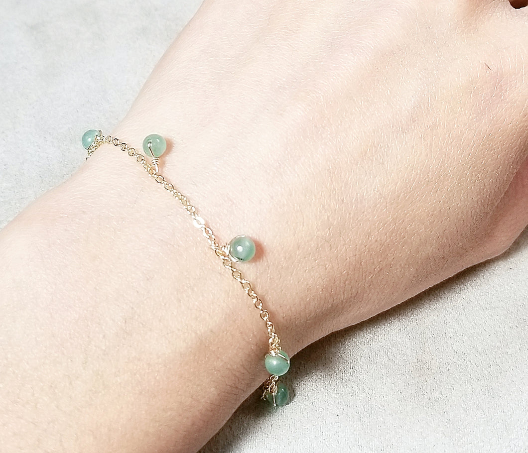 Green aventurine  dangle  bracelet