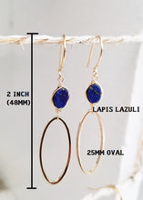 Load image into Gallery viewer, Lapis lazuli minimalist gold earring