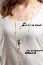 Load image into Gallery viewer, Amethyst gem stone lariat / Mini bead long necklace