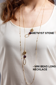Amethyst gem stone lariat / Mini bead long necklace