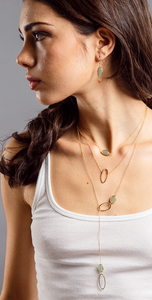 Aventurine gold dangle earring