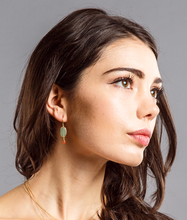 Load image into Gallery viewer, Aventurine gold dangle earring