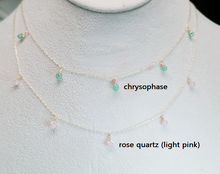 Load image into Gallery viewer, Chrysoprase dangle necklace / Rose quarts dangle necklace