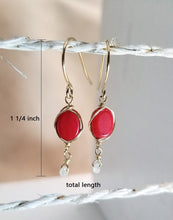 Load image into Gallery viewer, Red coral minimalist earring