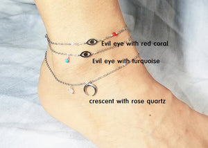 Crescent with rose quartz anklet / Evil eye with coral anklet / Evil eye with turquoise anklet