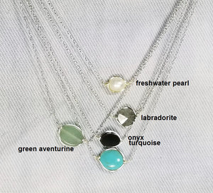Color of gem stone minimalist necklace / Bar necklace