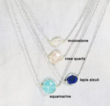 Load image into Gallery viewer, Color of gem stone minimalist necklace / Bar necklace