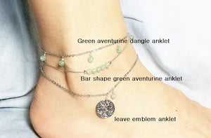Green aventurine dangle anklet /Bar shape green aventurine anklet / Leaves emblem anklet