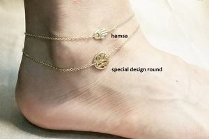 Hamsa gold anklet / Unique design round anklet