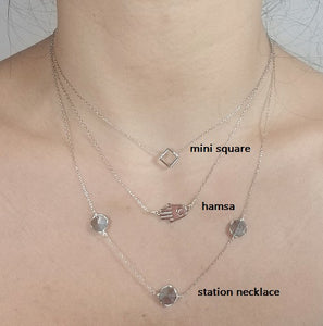Labradorite station necklace /Hamsa necklace /Mini square necklace