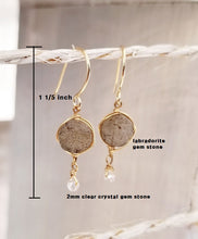 Load image into Gallery viewer, Labradorite gem stone gold dangle earring