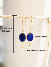 Load image into Gallery viewer, Lapis lazuli  gold minimalist earring