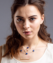 Load image into Gallery viewer, Lapis lazuli single stone necklace / Square necklace / 3 stone station necklace / Bar necklace