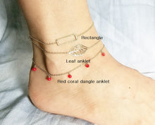 Load image into Gallery viewer, Rectangle anklet / Leaf anklet / Red coral dangle anklet