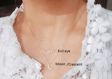 Load image into Gallery viewer, Moon necklace / Evil eye necklace / Minimalist mini bar necklace