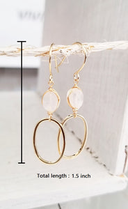 Moonstone gold oval dangle earring
