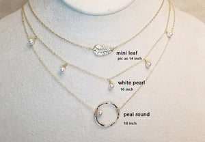Mini pearl choker/pearl dangle necklace/pearl on round necklace
