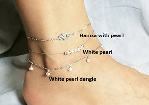 Hamsa anklet / White pearl anklet / White pearl dangle anklet