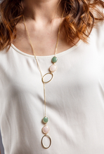 Load image into Gallery viewer, Rose quartz long lariat necklace