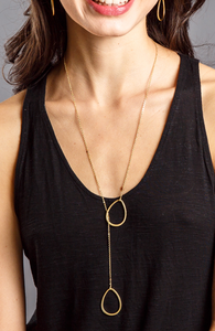 Tear drop lariat necklace