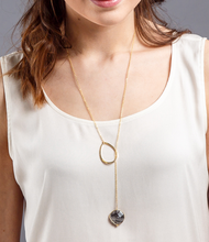 Load image into Gallery viewer, Coin shaped gem stone lariat necklace