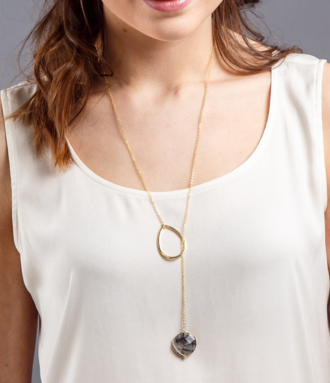 Coin shaped gem stone lariat necklace