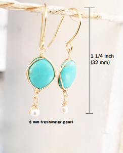 Turquoise dangle gold earring