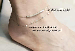 Unique Mini bead anklets / Serrated bead anklet