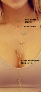 Wishbone necklace / Green aventurine long lariat necklace.