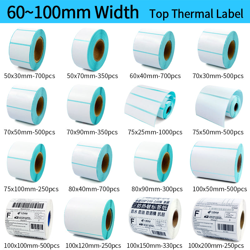 Thermal barcode Sticker, 40mm Core, 1 Roll , Width 60mm ~110mm, Direct Thermal Shipping label for Zebra Godex Gprinter Xprinter