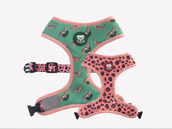 LEOPARD REVERSIBLE DOG HARNESS