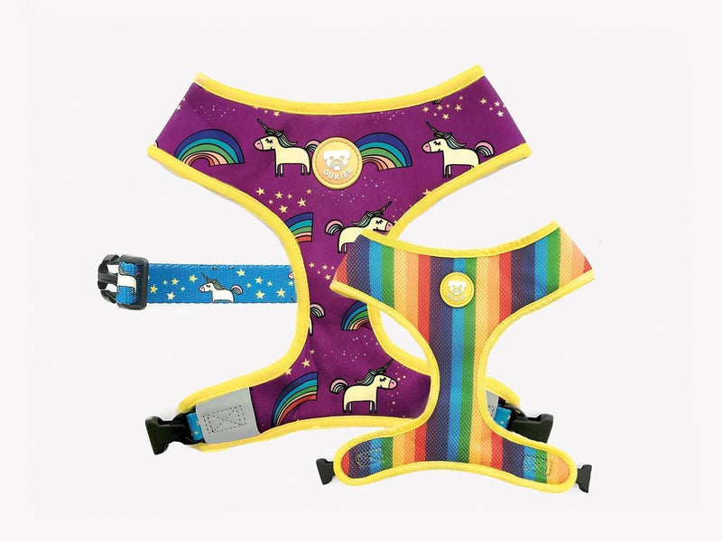 RAINBOW REVERSIBLE DOG HARNESS - Dukier Store