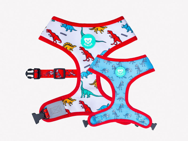 REVERSIBLE DINO HARNESS FOR DOGS - Dukier Store
