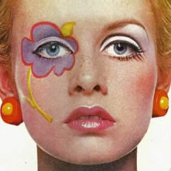 Twiggy in glam hippie makeup