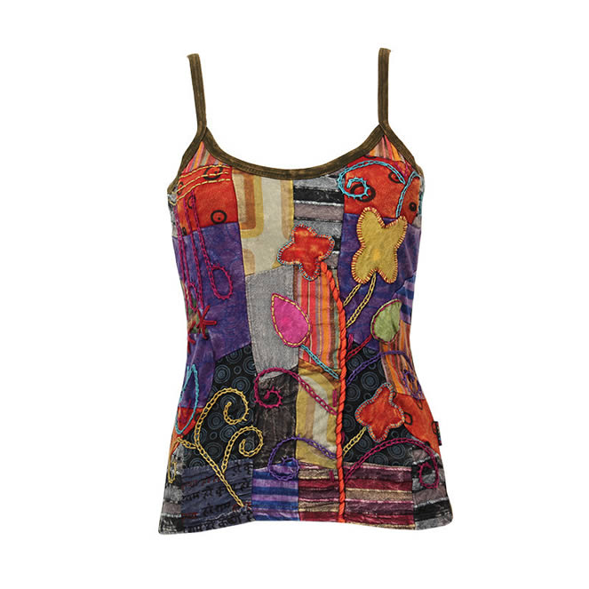 hand painted embroidered strappy vest top