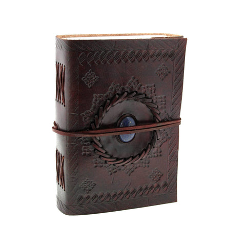 Indra Medium Stitch Stones Embossed Leather Journal